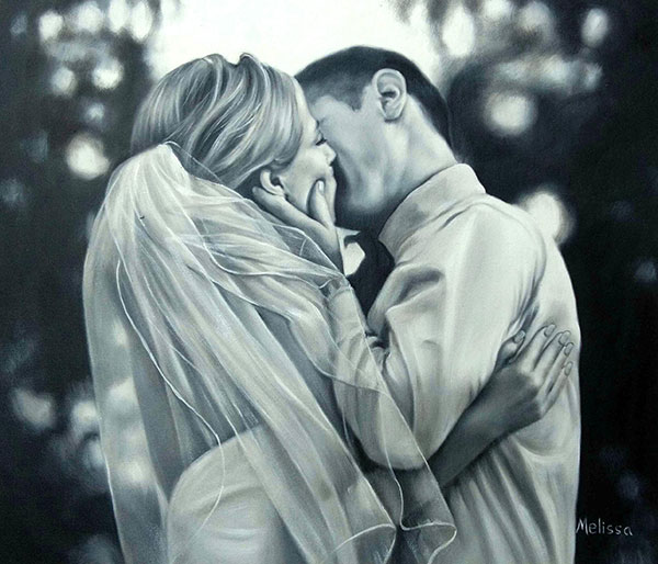 Beautiful oil painting capturing a sweet wedding memory